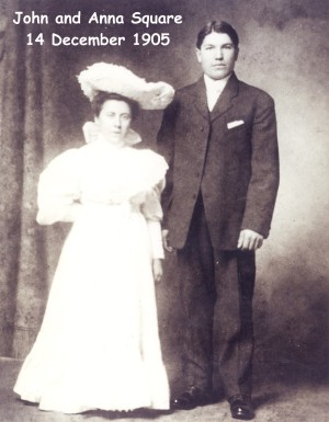 square (john) & cardenga (anna antonia) 1905 marriage photo