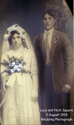 square (nicola) & rossi (lucia) 1914 marriage photo