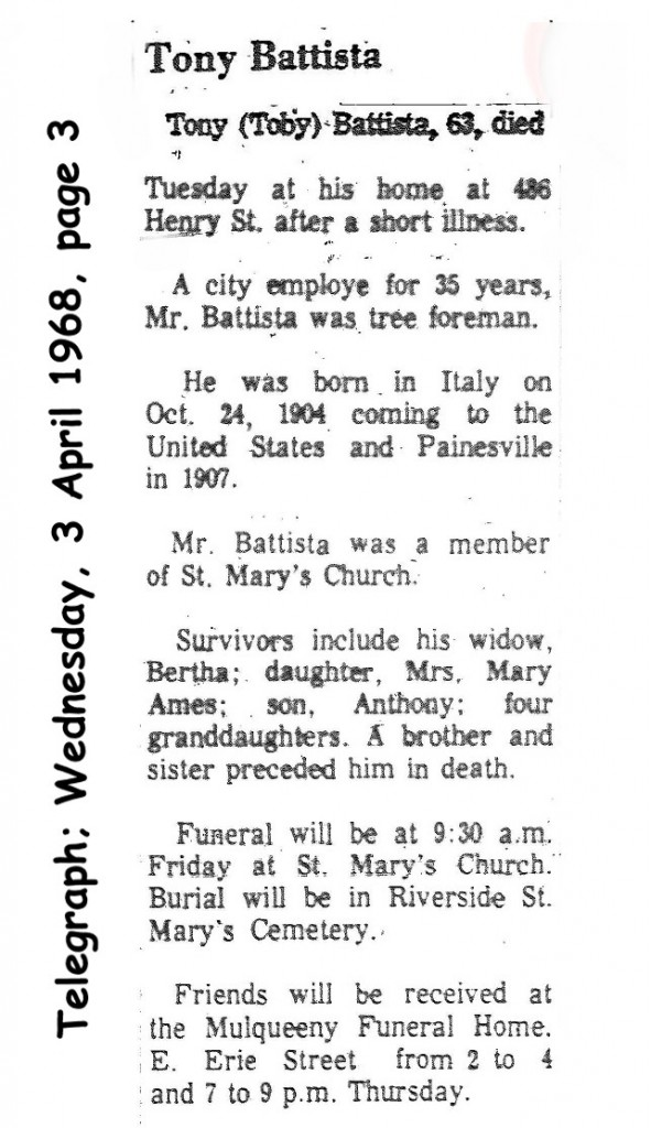 Battista (Donato) 1968 obituary