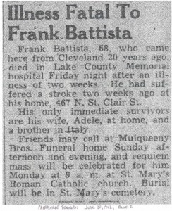 battista (francesco) 1942 obituary