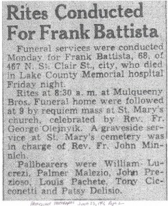 battista (francesco) 1942 obituary - rites
