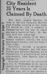 battista (maria angela fortunata) 1942 obituary