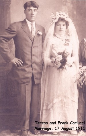 carlucci (frank) & scacciavillani (teresa) 1911 marriage photo