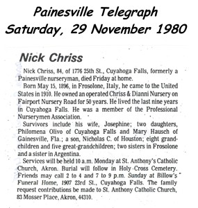 chriss (nick) 1980 obituary