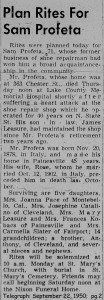 profeta (salvatore) 1950 obituary