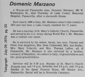 marzano (domenico) 1976 obituary