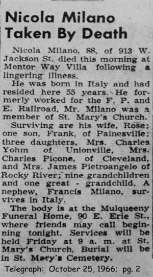milano (nicola) 1952 obituary