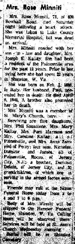 minnittti (rosaria dileto) 1960 obituary