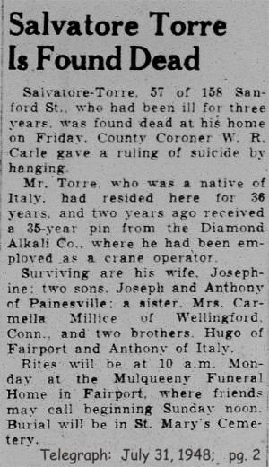 torre (salvatore) 1948 obituary