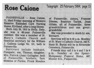 caione (rosa messina) 1984 obituary