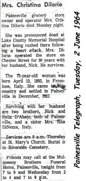 diiorio (christine dabate) 1964 obituary