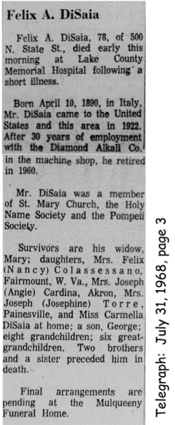 disaia (felice) 1968 obituary
