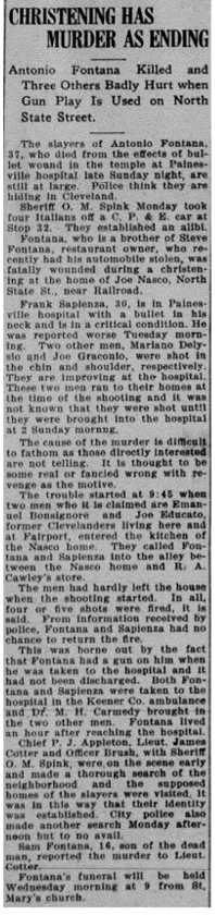 fontana (antonio) 1921 newspaper article
