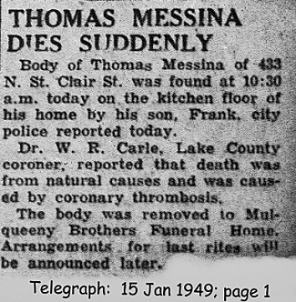 messina (tommaso) 1949 obituary