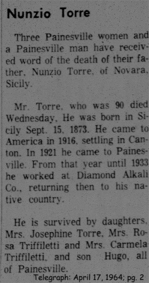 torre (nunzio) 1964 obituary