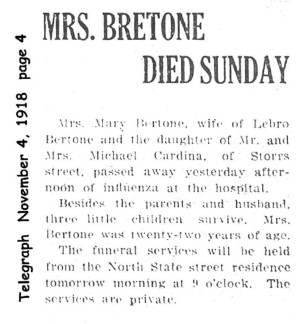 bertone (mary cardegna) 1918 obituary
