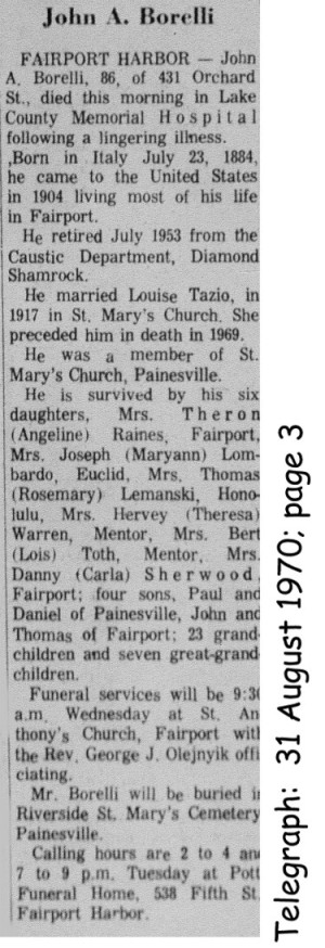 borelli (giovanni) 1970 obituary