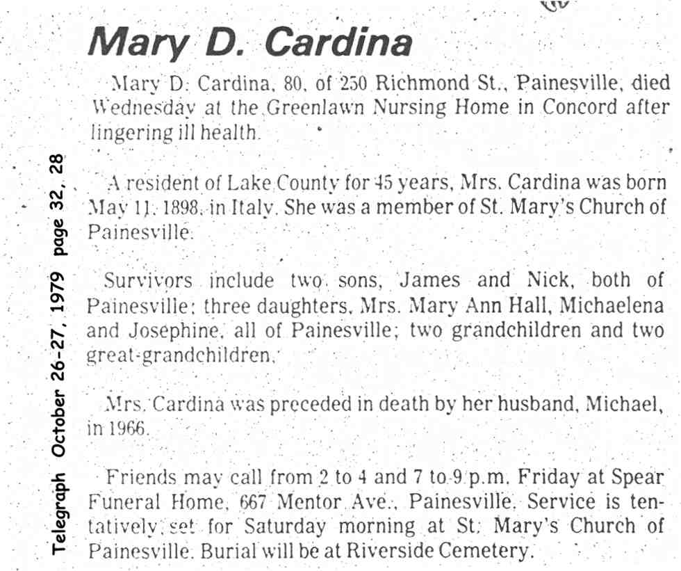 cardegna (mary d. ______) 1978 obituary