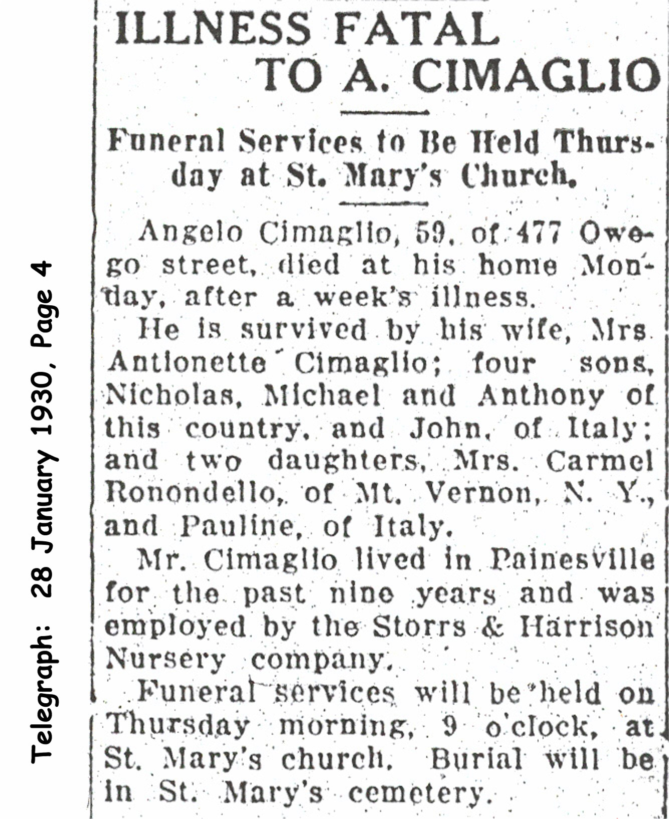 cimaglio (angelo) 1930 obituary