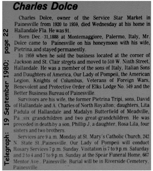 dolce (cologer0) 1980 obituary