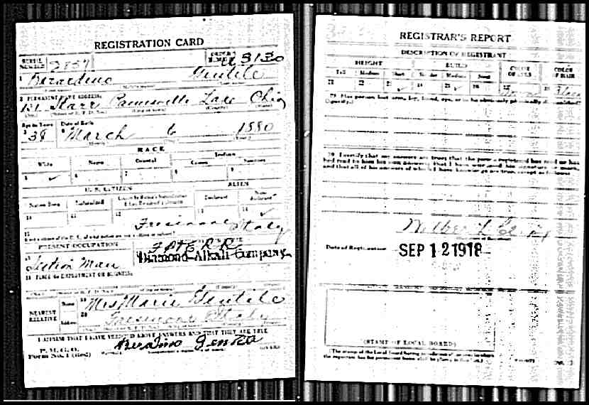 gentile (berardino) 1918 draft registration card