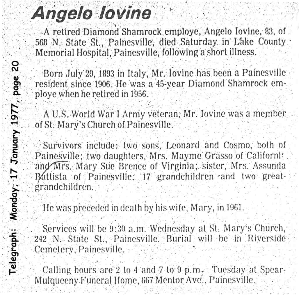 iovine (angelo) 1977 obituary