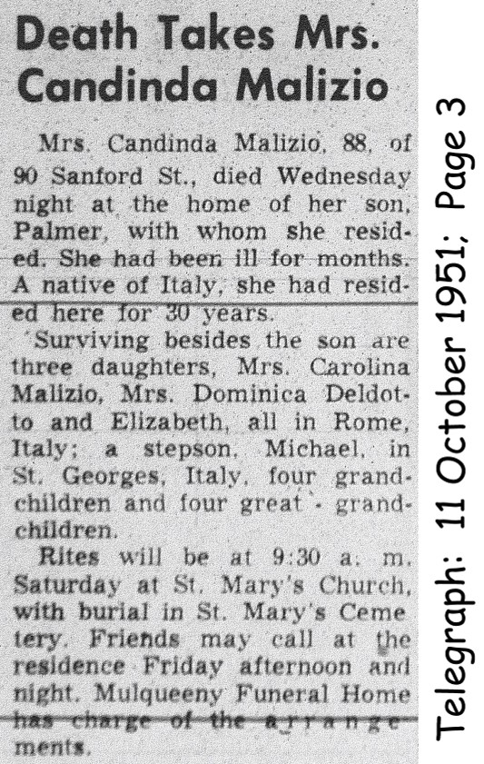 malizia (candida collaiti) 1951 obituary