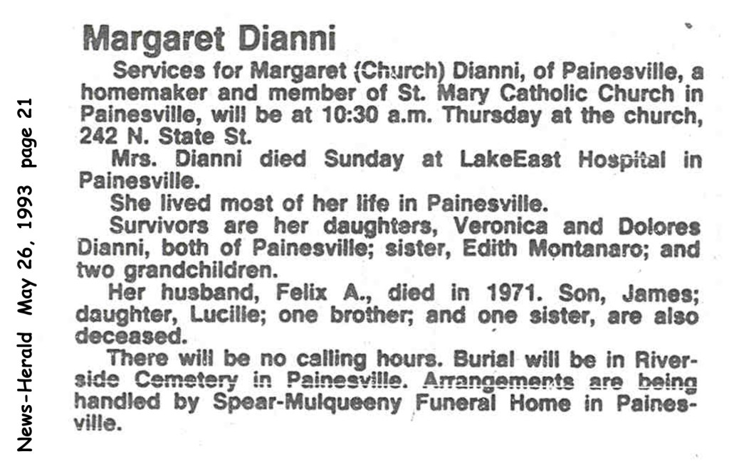 dianni (margaret church) 1993 obituary