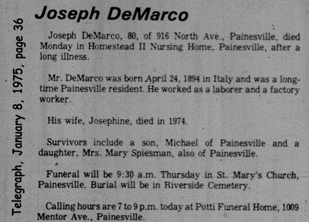 demarco (joseph) 1975 obituary