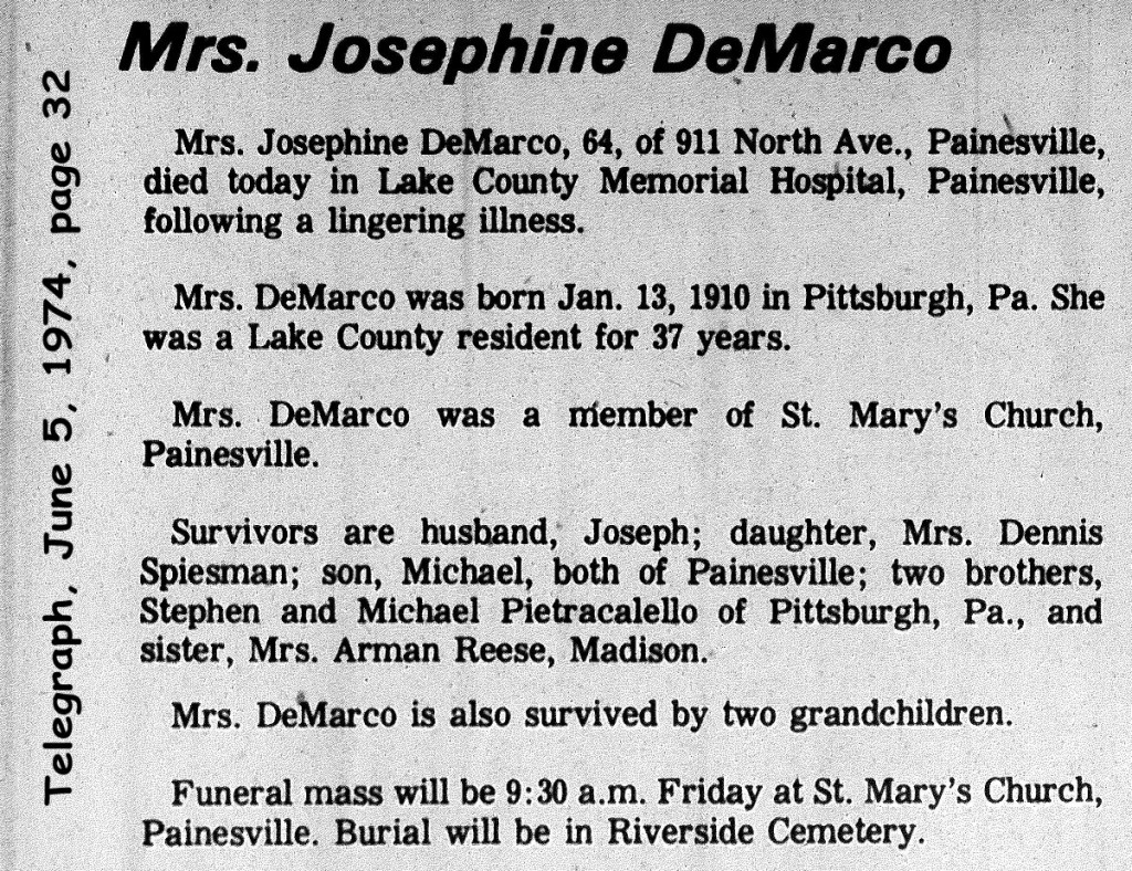 demarco (josephine pietracalello) 1974 obituary