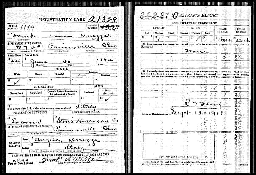 dinezza  (francesco) 1918 draft refistration card