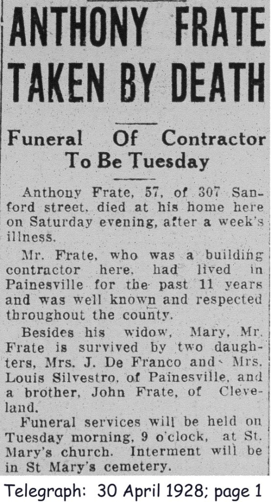 frate (antonio) 1928 obituary