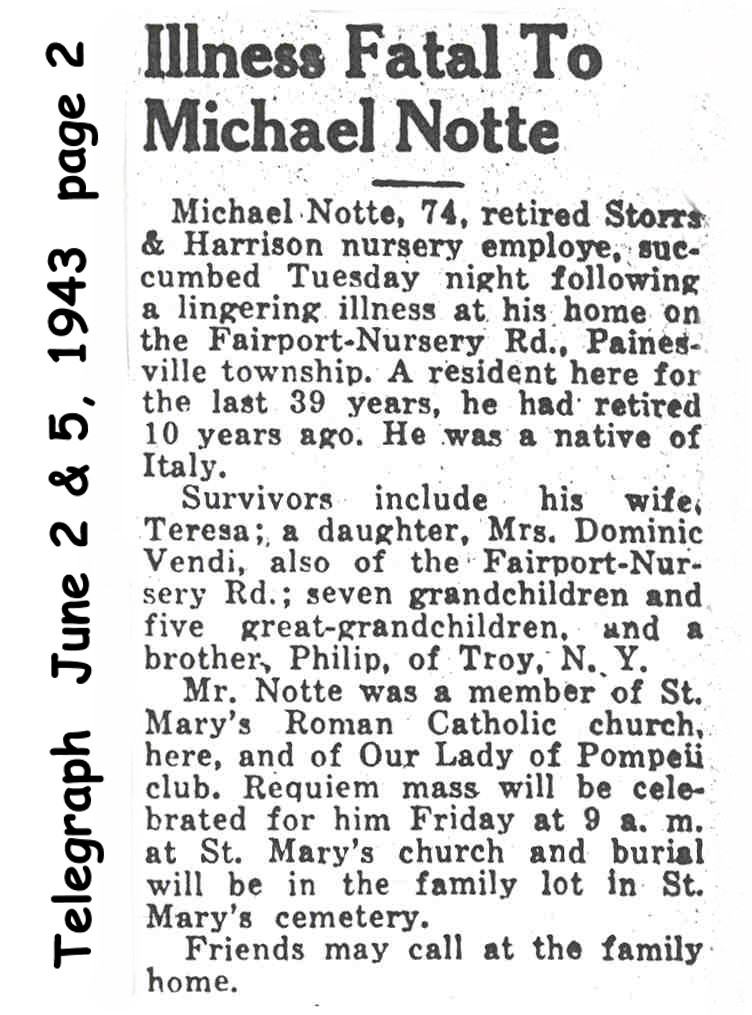 notte (michele) 1943 obituary