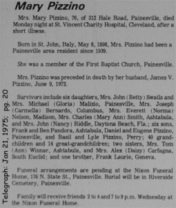 pizzino (maria loria) 1975 obituary