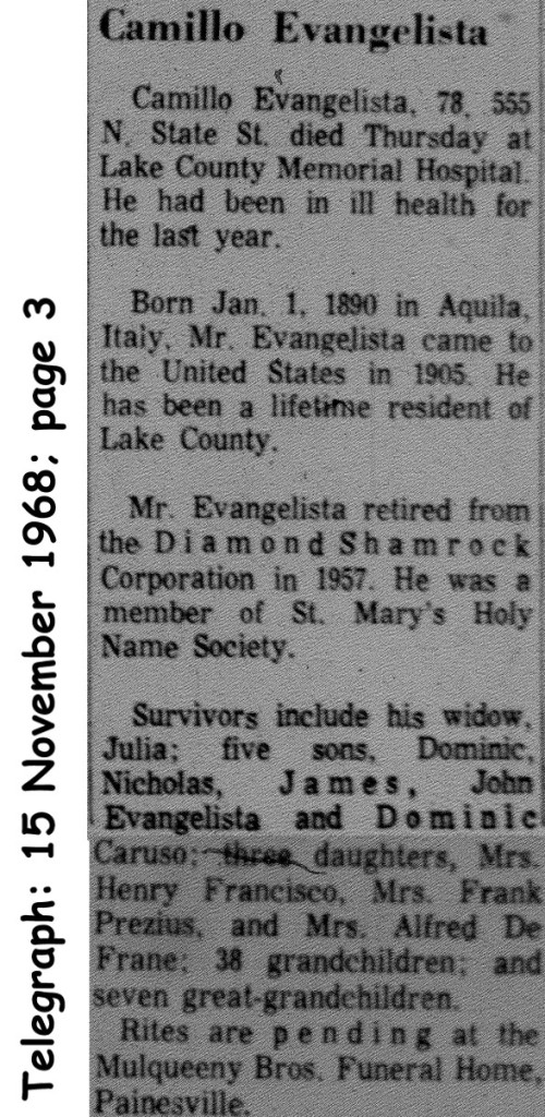 evangelista (camillo) 1968 obituary
