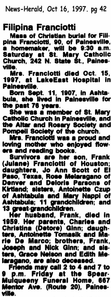 franciotti (filippa) 1997 obituary