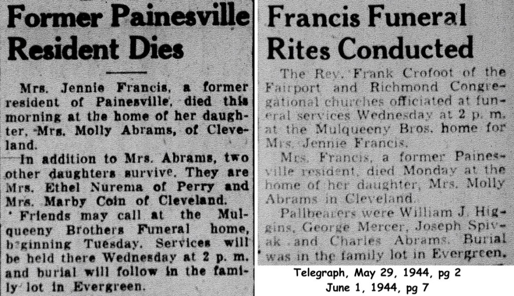 francis (jennie) 1944 obituary