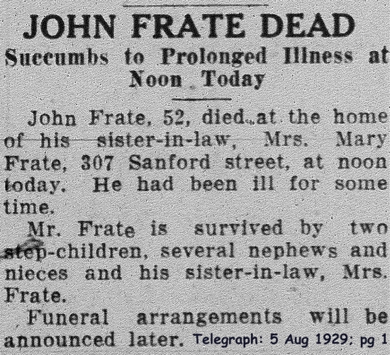 frate (giovanni) 1929 obituary