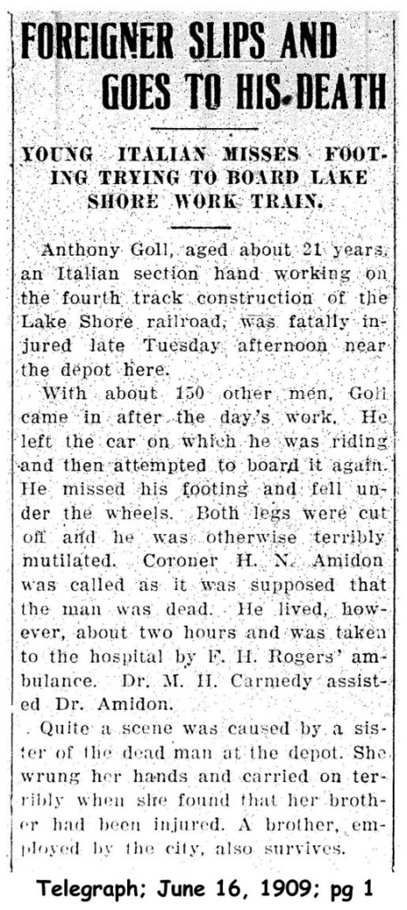 goll (antonio) 1909 obituary